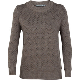 Icebreaker Waypoint Crew Sweater Women Toast Heather/Charcoal Heather